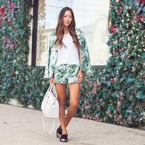 Joie 'Merci' Banana Leaf Print Linen Shorts